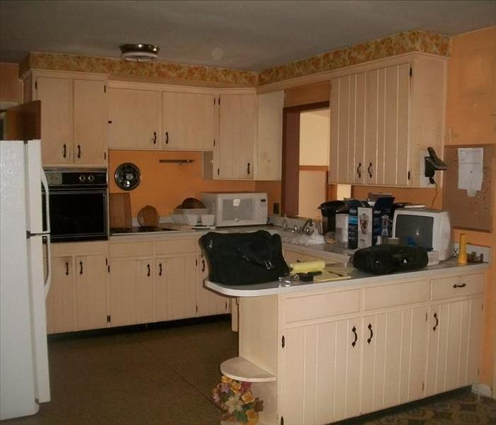 Remodelled Kitchen after Fire Damage Before